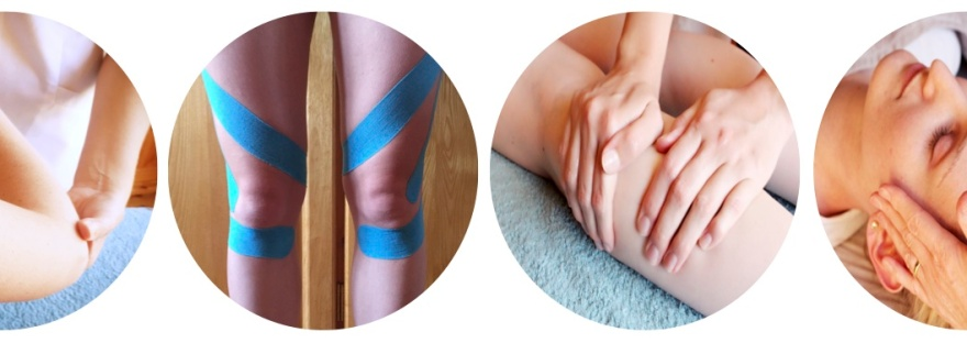 Four circular images side by side showing Cambridge Osteopathy treatments including osteopathy treatment to the arm, kinesio tape applied to the legs, sports massage on the legs and osteopathy treatment to the head and neck